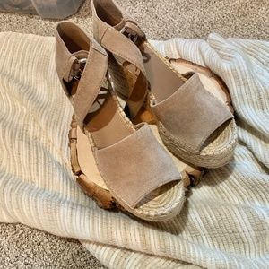 Marc Fisher Tan Suede Espadrille Wedges 9
